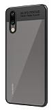 Eiroo Cam Hybrid Huawei P20 Kamera Korumalı Siyah Kenarlı Rubber Kılıf