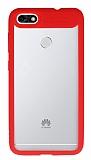 Eiroo Cam Hybrid Huawei P9 Lite Mini Kamera Korumalı Kırmızı Kenarlı Rubber Kılıf