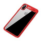 Eiroo Cam Hybrid iPhone X Kamera Korumalı Kırmızı Kenarlı Rubber Kılıf