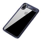 Eiroo Cam Hybrid iPhone X Kamera Korumalı Lacivert Kenarlı Rubber Kılıf