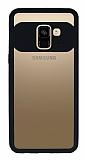 Eiroo Cam Hybrid Samsung Galaxy A8 Plus Kamera Korumalı Siyah Kenarlı Rubber Kılıf