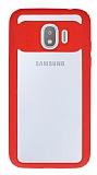 Eiroo Cam Hybrid Samsung Galaxy J2 Pro 2018 Kamera Korumalı Kırmızı Kenarlı Rubber Kılıf