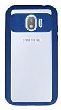 Eiroo Cam Hybrid Samsung Grand Prime Pro J250F Kamera Korumalı Mavi Kenarlı Rubber Kılıf