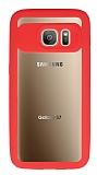 Eiroo Cam Hybrid Samsung Galaxy S7 Kamera Korumalı Kırmızı Kenarlı Rubber Kılıf