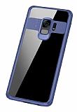 Eiroo Cam Hybrid Samsung Galaxy S9 Kamera Korumalı Lacivert Kenarlı Rubber Kılıf