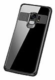 Eiroo Cam Hybrid Samsung Galaxy S9 Kamera Korumalı Siyah Kenarlı Rubber Kılıf