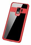 Eiroo Cam Hybrid Samsung Galaxy S9 Plus Kamera Korumalı Kırmızı Kenarlı Rubber Kılıf