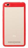 Eiroo Cam Hybrid Xiaomi Redmi 4A Kamera Korumalı Kırmızı Kenarlı Rubber Kılıf
