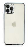 Eiroo Camera Protect iPhone 11 Pro Kamera Korumalı Mavi Silikon Kılıf