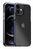 Eiroo Carbon Hybrid iPhone 12 / 12 Pro 6.1 inç Ultra Koruma Mavi Kılıf