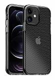 Eiroo Carbon Hybrid iPhone 12 / 12 Pro 6.1 inç Ultra Koruma Siyah Kılıf