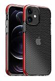 Eiroo Carbon Hybrid iPhone 12 / 12 Pro 6.1 inç Ultra Koruma Kırmızı Kılıf