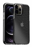 Eiroo Carbon Hybrid iPhone 12 Pro Max 6.7 inç Ultra Koruma Siyah Kılıf