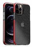 Eiroo Carbon Hybrid iPhone 12 Pro Max 6.7 inç Ultra Koruma Kırmızı Kılıf
