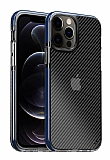 Eiroo Carbon Hybrid iPhone 12 Pro Max 6.7 inç Ultra Koruma Mavi Kılıf