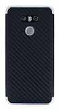 Eiroo Carbon Hybrid LG G6 Silver Kenarlı Karbon Siyah Silikon Kılıf