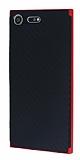 Eiroo Carbon Hybrid Sony Xperia XZ Premium Kırmızı Kenarlı Karbon Siyah Silikon Kılıf