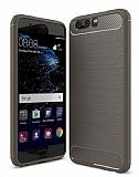 Eiroo Carbon Shield Huawei P10 Ultra Koruma Dark Silver Kılıf