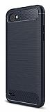 Eiroo Carbon Shield LG Q6 Ultra Koruma Lacivert Kılıf