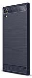 Eiroo Carbon Shield Sony Xperia XA1 Plus Ultra Koruma Lacivert Kılıf