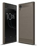 Eiroo Carbon Shield Sony Xperia XA1 Ultra Süper Koruma Dark Silver Kılıf