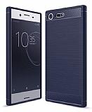 Eiroo Carbon Shield Sony Xperia XZ Premium Ultra Koruma Lacivert Kılıf