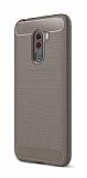 Eiroo Carbon Shield Xiaomi Pocophone F1 Ultra Koruma Dark Silver Kılıf