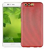Eiroo Carbon Thin Huawei P10 Plus Ultra İnce Kırmızı Silikon Kılıf