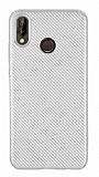 Eiroo Carbon Thin Huawei P20 Lite Ultra İnce Silver Silikon Kılıf