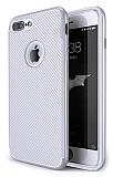 Eiroo Carbon Thin iPhone 7 Plus Ultra İnce Silver Silikon Kılıf