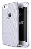 Eiroo Carbon Thin iPhone SE / 5 / 5S Ultra İnce Silver Silikon Kılıf