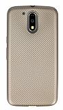 Eiroo Carbon Thin Motorola Moto G4 / G4 Plus Ultra İnce Gold Silikon Kılıf