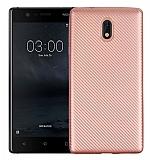 Eiroo Carbon Thin Nokia 3 Ultra İnce Rose Gold Silikon Kılıf