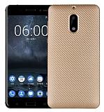 Eiroo Carbon Thin Nokia 6 Ultra İnce Gold Silikon Kılıf