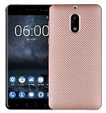 Eiroo Carbon Thin Nokia 6 Ultra İnce Rose Gold Silikon Kılıf