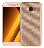 Eiroo Carbon Thin Samsung Galaxy A3 2017 Ultra İnce Gold Silikon Kılıf
