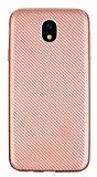 Eiroo Carbon Thin Samsung Galaxy J7 Pro 2017 Ultra İnce Rose Gold Silikon Kılıf