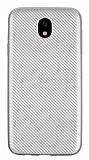 Eiroo Carbon Thin Samsung Galaxy J7 Pro 2017 Ultra İnce Silver Silikon Kılıf
