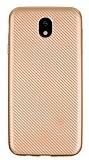 Eiroo Carbon Thin Samsung Galaxy J7 Pro 2017 Ultra İnce Gold Silikon Kılıf