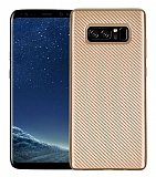Eiroo Carbon Thin Samsung Galaxy Note 8 Ultra İnce Gold Silikon Kılıf