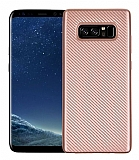 Eiroo Carbon Thin Samsung Galaxy Note 8 Ultra İnce Rose Gold Silikon Kılıf