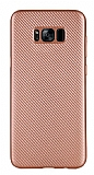 Eiroo Carbon Thin Samsung Galaxy S8 Plus Ultra İnce Rose Gold Silikon Kılıf