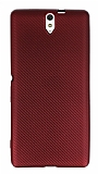 Eiroo Carbon Thin Sony Xperia C5 Ultra Süper İnce Kırmızı Silikon Kılıf