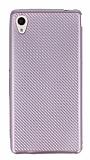 Eiroo Carbon Thin Sony Xperia M4 Aqua Ultra İnce Rose Gold Silikon Kılıf