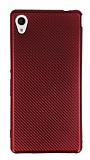 Eiroo Carbon Thin Sony Xperia M4 Aqua Ultra İnce Kırmızı Silikon Kılıf