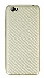 Eiroo Carbon Thin Vestel Venus E3 Ultra İnce Gold Silikon Kılıf