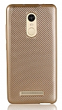 Eiroo Carbon Thin Xiaomi Redmi Note 3 Ultra İnce Gold Silikon Kılıf