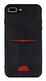 Eiroo Card Pick iPhone 7 Plus / 8 Plus Kartlıklı Deri Siyah Rubber Kılıf