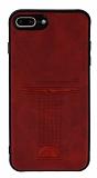 Eiroo Card Pick iPhone 7 Plus / 8 Plus Kartlıklı Deri Kırmızı Rubber Kılıf