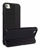 Eiroo Card Slot iPhone 7 / 8 Ultra Koruma Siyah Kılıf